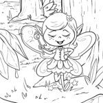 Coloring page little elf in the forest for coloring