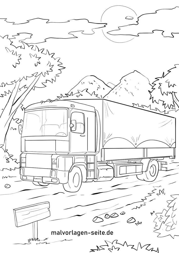 ausmalbilder laster  lkw  lastkraftwagen kostenlos drucken
