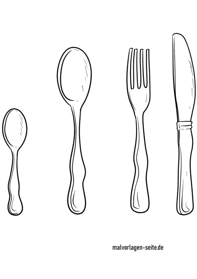 Coloring page cutlery - knife fork spoon
