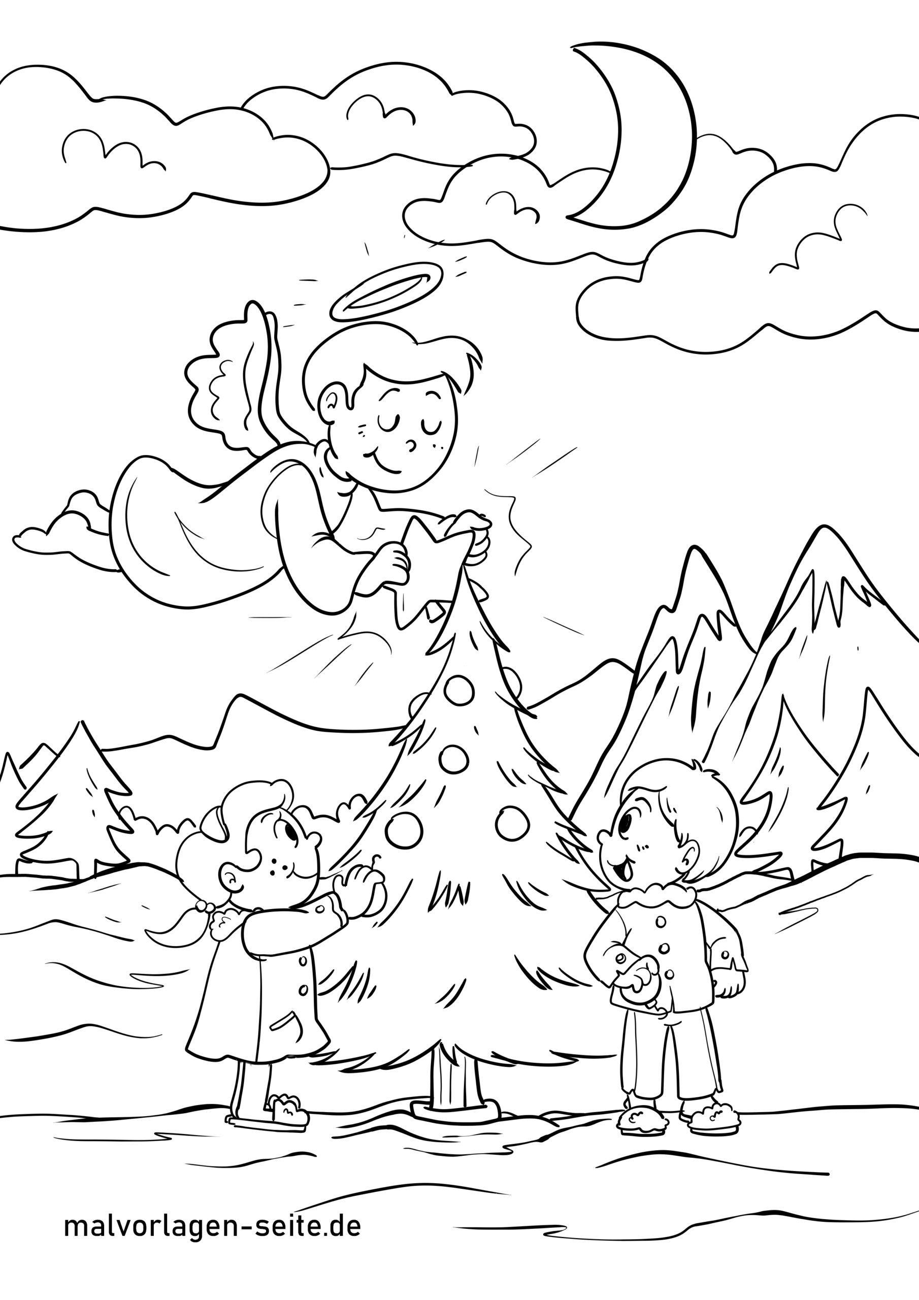 Malvorlage Christkind  Weihnachten - Kostenlose Ausmalbilder