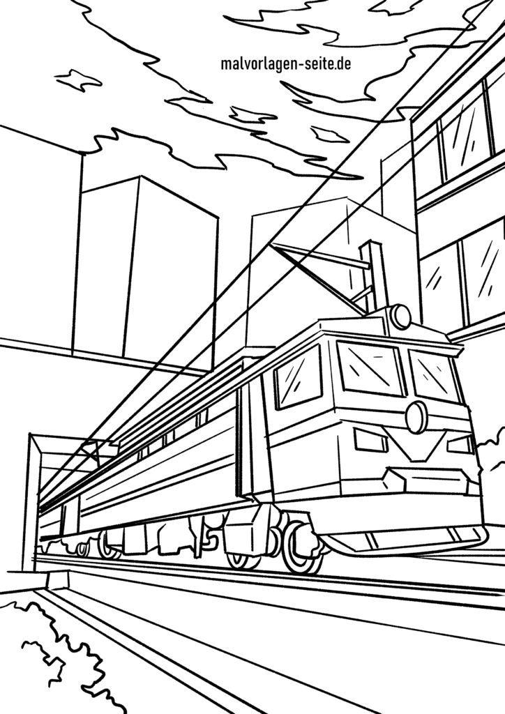ausmalbilder rund um eisenbah zug und dampfender lokomotive
