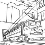 Coloring page railway