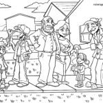 Coloring page family for coloring