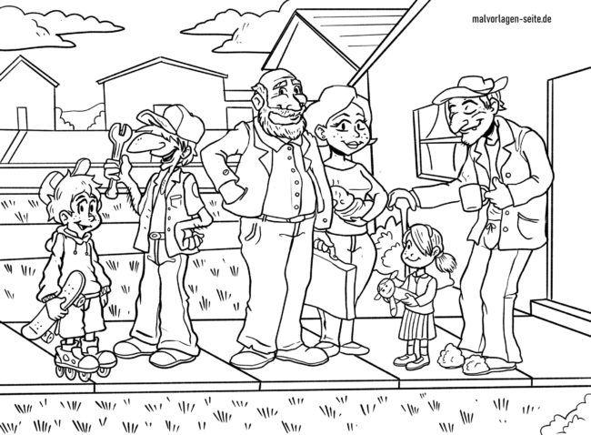 Malvorlage Familie
