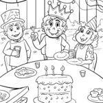 Malvorlage Geburtstag feiern zum Ausmalen