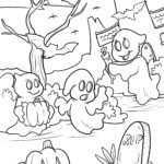 Coloring page Halloween ghosts