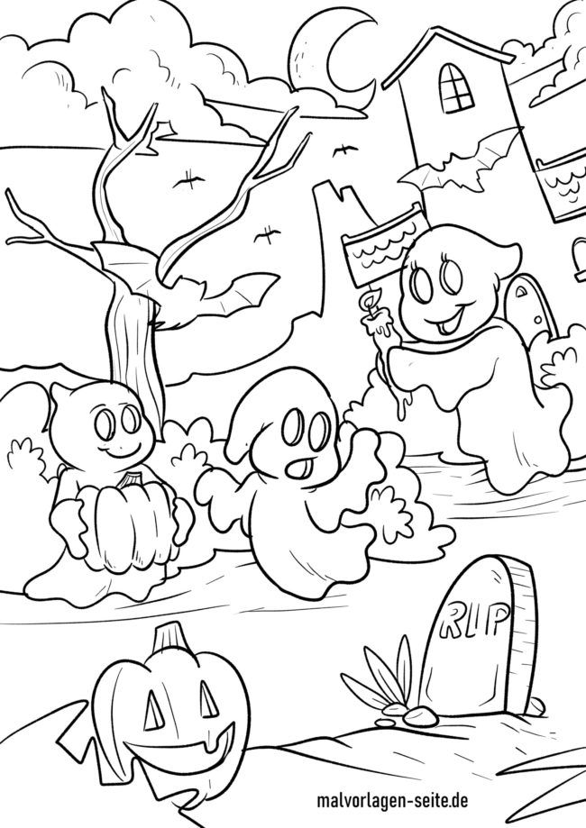 Coloring Page Halloween Ghosts Free Coloring Pages
