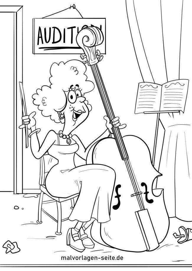 malvorlage kontrabass  musikinstrumente  kostenlose