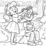 Coloring page girl children