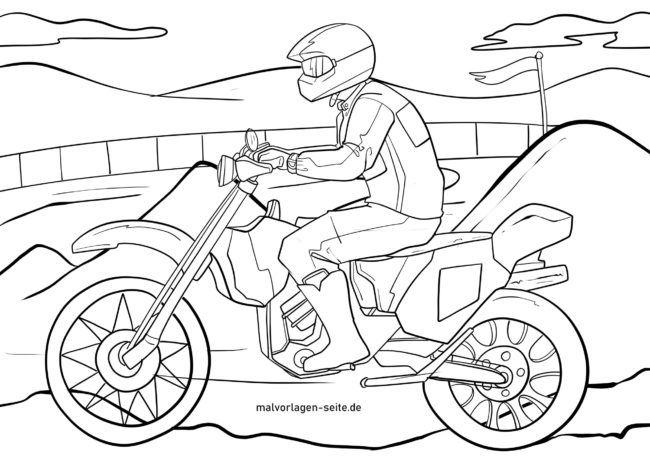 Malvorlage Motocross Motorrad