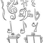 Coloring page notes and music sign for coloring
