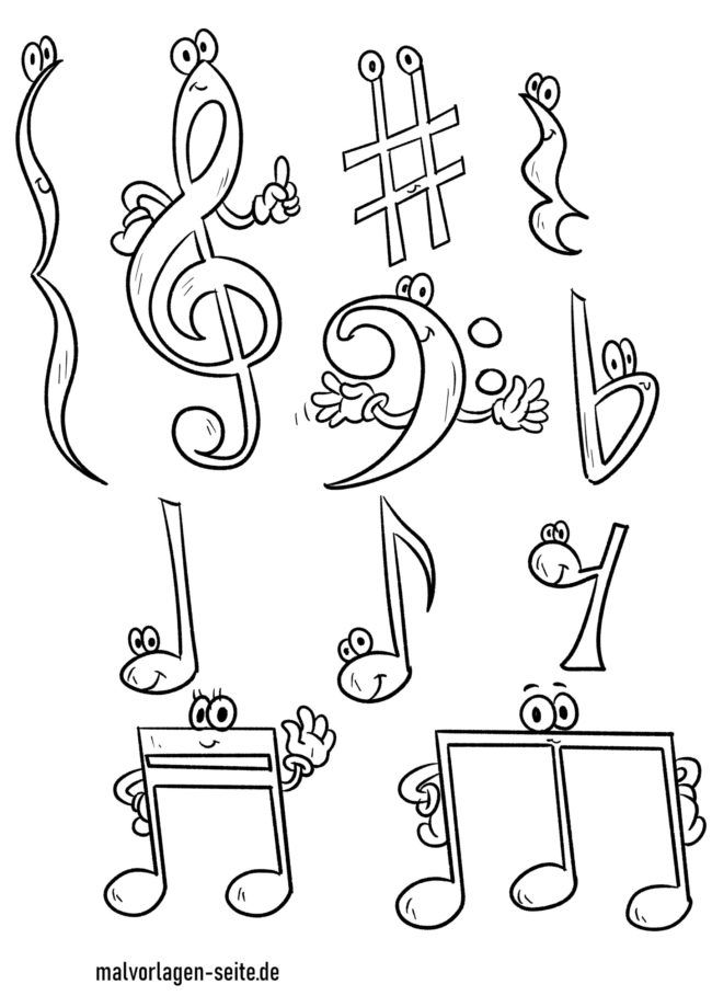Coloring page sheet music