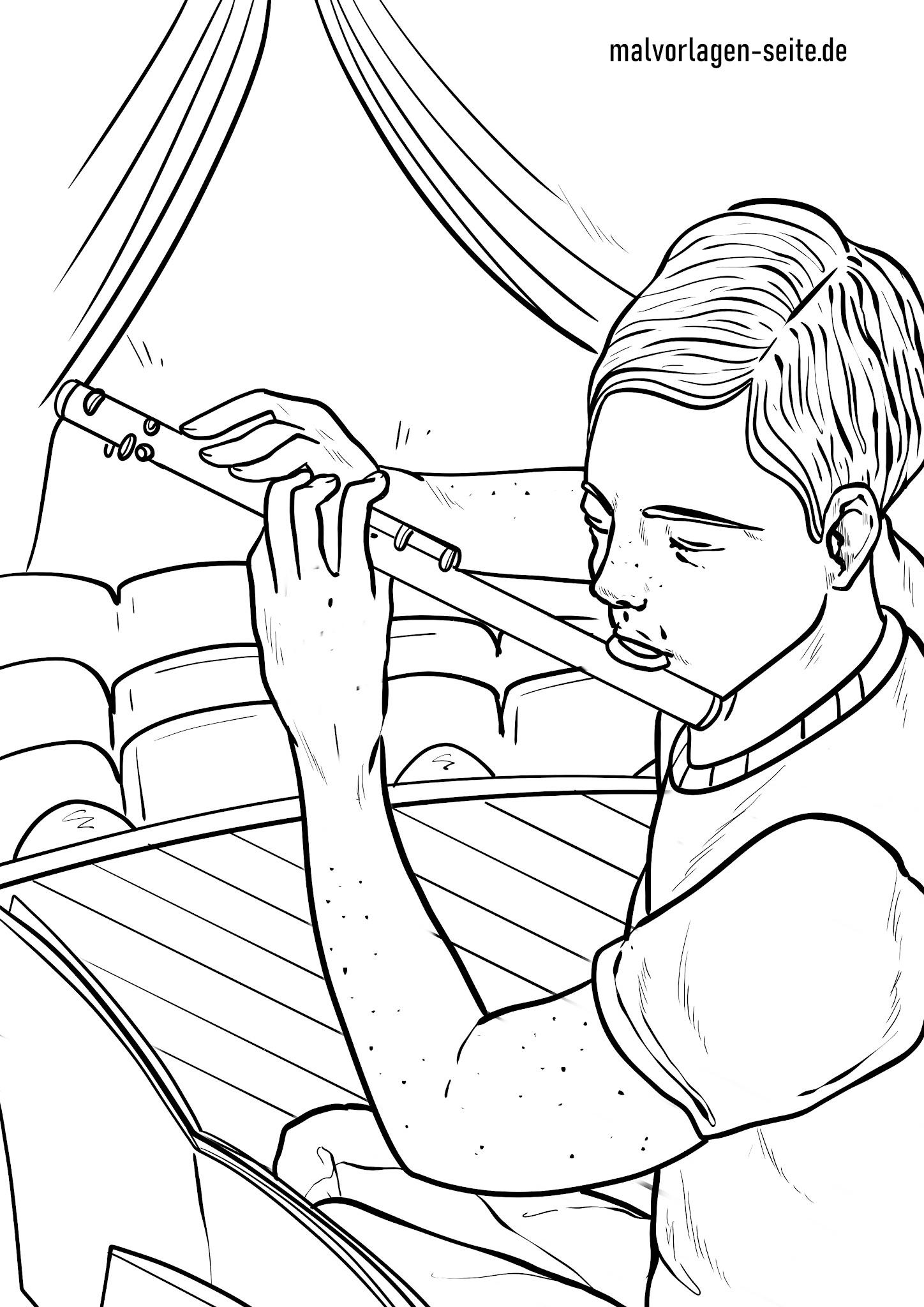 Malvorlage Querflöte  Musikinstrumente - Kostenlose Ausmalbilder