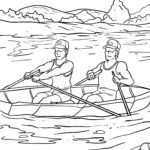Coloring page oarsmen row to color