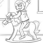 Página para colorir cavalo de balanço