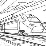 Malvorlage Eisenbahn Schnellzug zum Ausmalen