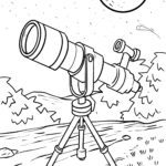 Coloring page telescope for coloring
