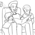 Coloring page read out children