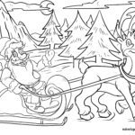 Coloring page Santa Claus with reindeer for coloring