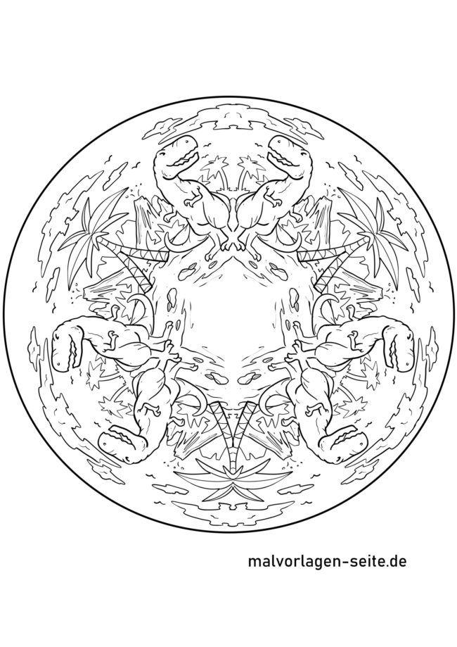Mandala Dinosaurier Kostenlose Ausmalbilder