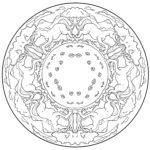 Mandala horses - horse mandala for coloring