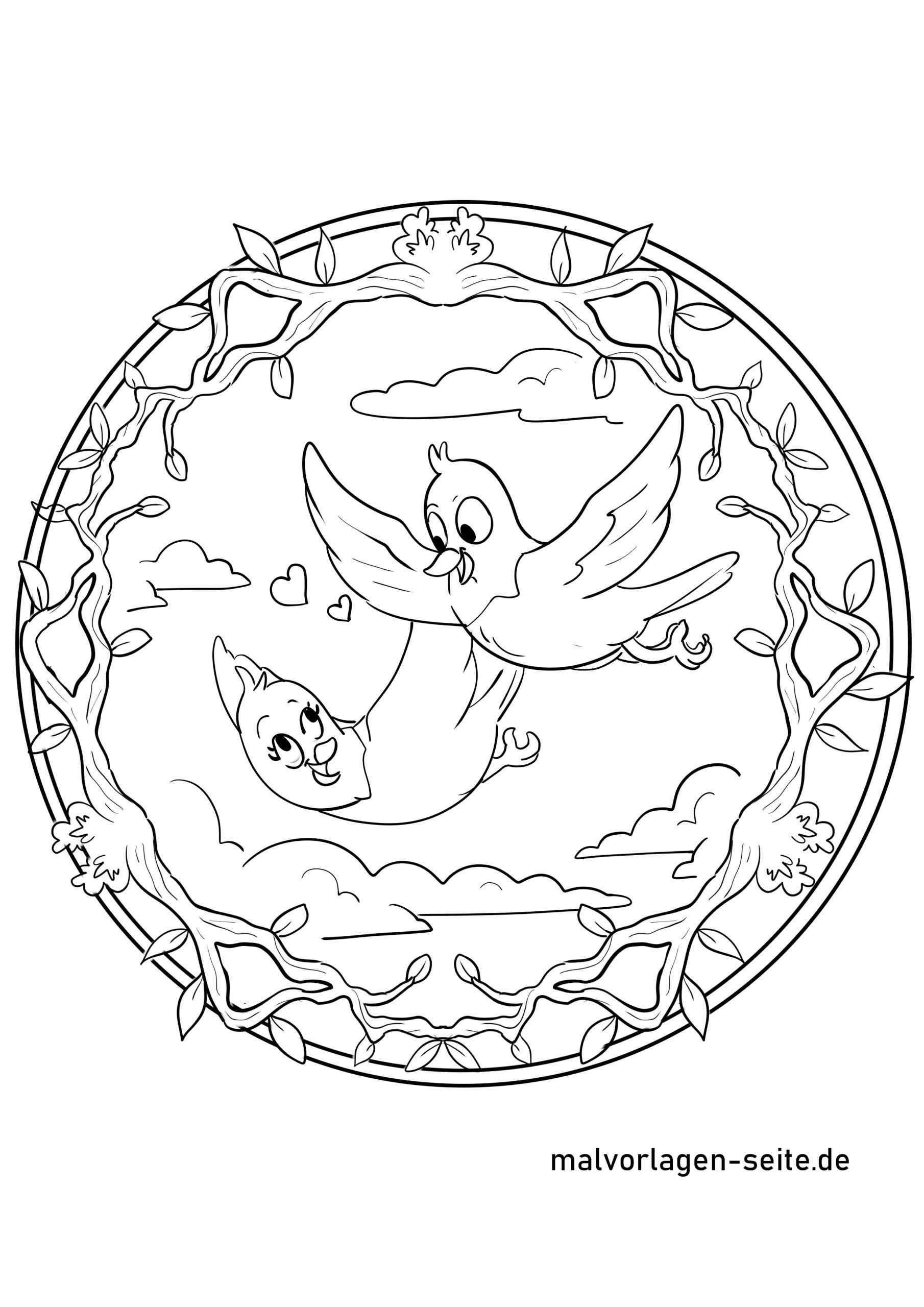 mandala vögel | ausmalbilder kostenlos
