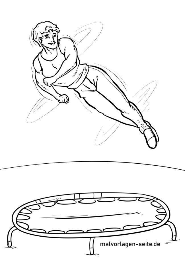 Coloring page jumping trampoline