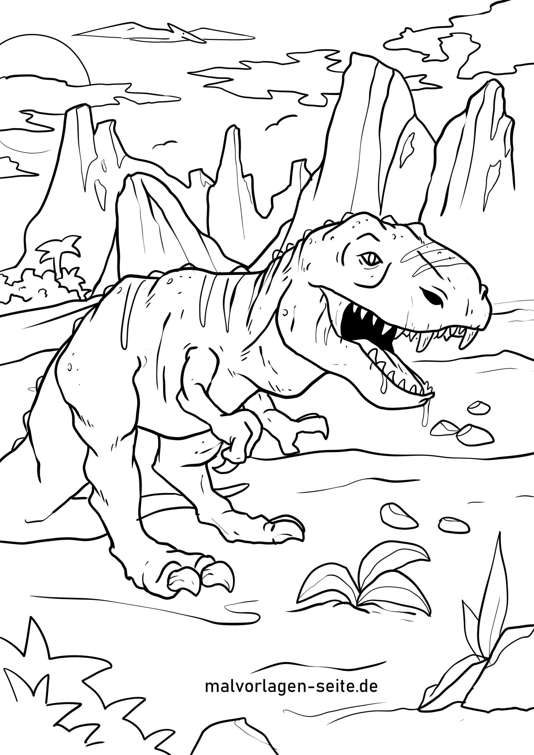 Malvorlage Tyrannosaurus Rex  Dinosaurier - Kostenlose Ausmalbilder