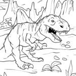 Página para colorir tiranossauro Rex | dinossauro