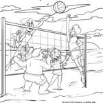 Disegno da colorare giocare a pallavolo sulla spiaggia