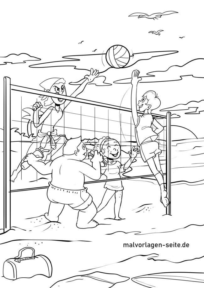 Malvorlage Volleyball spielen
