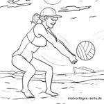 Disegno da colorare giocatore di beach volley per colorare