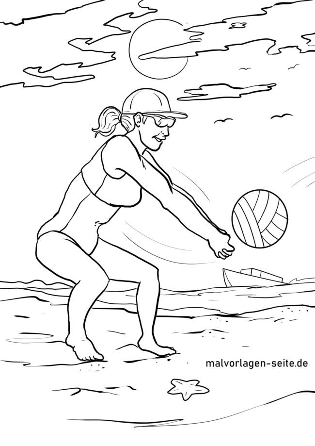 Coloring page beach volleyball