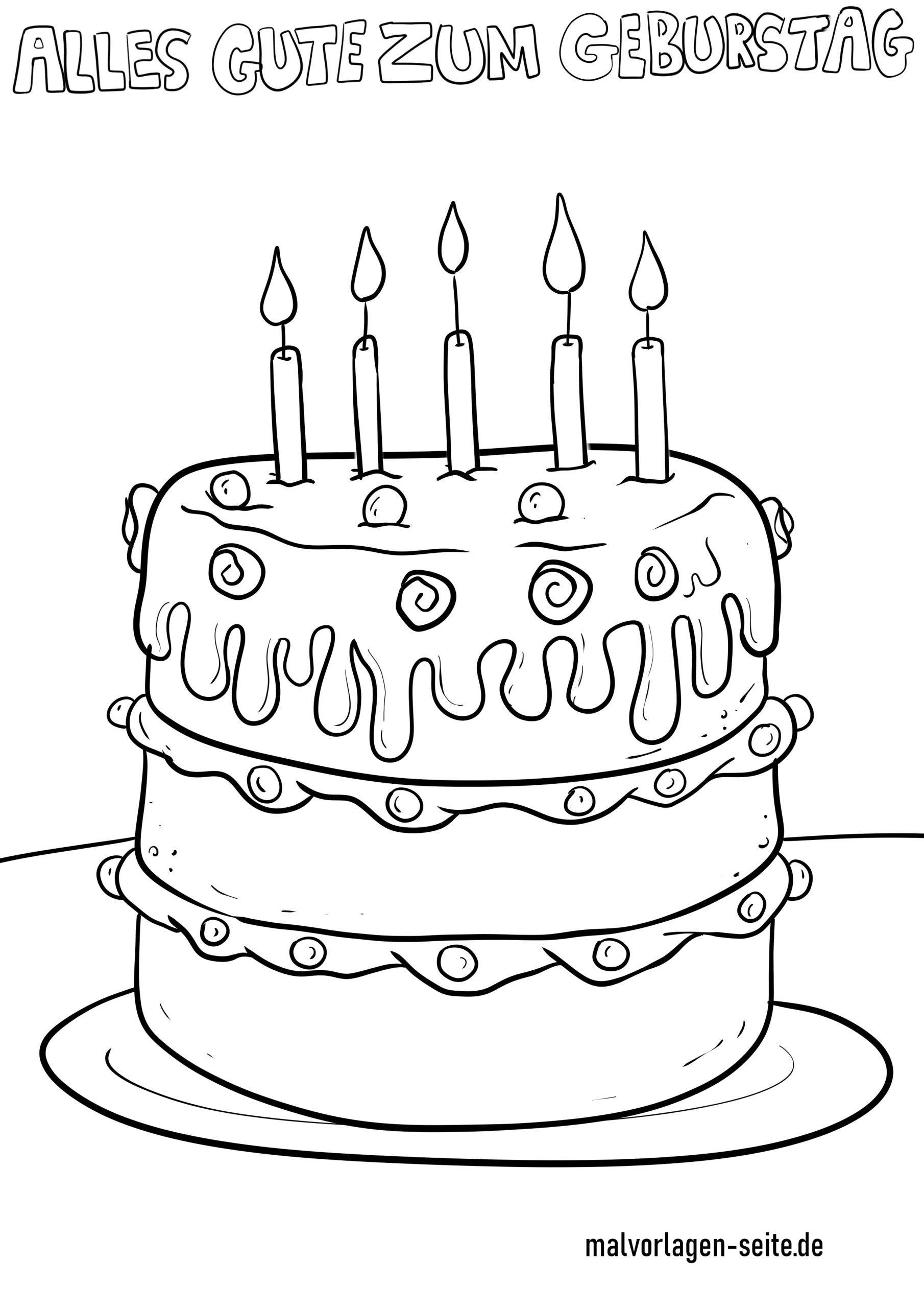 Malvorlage Alles Gute zum Geburtstag - Kostenlose Ausmalbilder