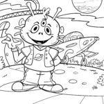 Farvelægning alien på fremmed planet