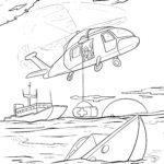 Ausmalbild Hubschrauber Rettung zum Ausmalen