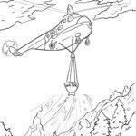 Helicopter extinguishes forest fire coloring page