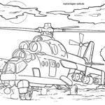 Ausmalbild Militärhubschrauber zum Ausmalen