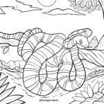 Ausmalbild Schlange im Baum - Malvorlage gratis herunterladen
