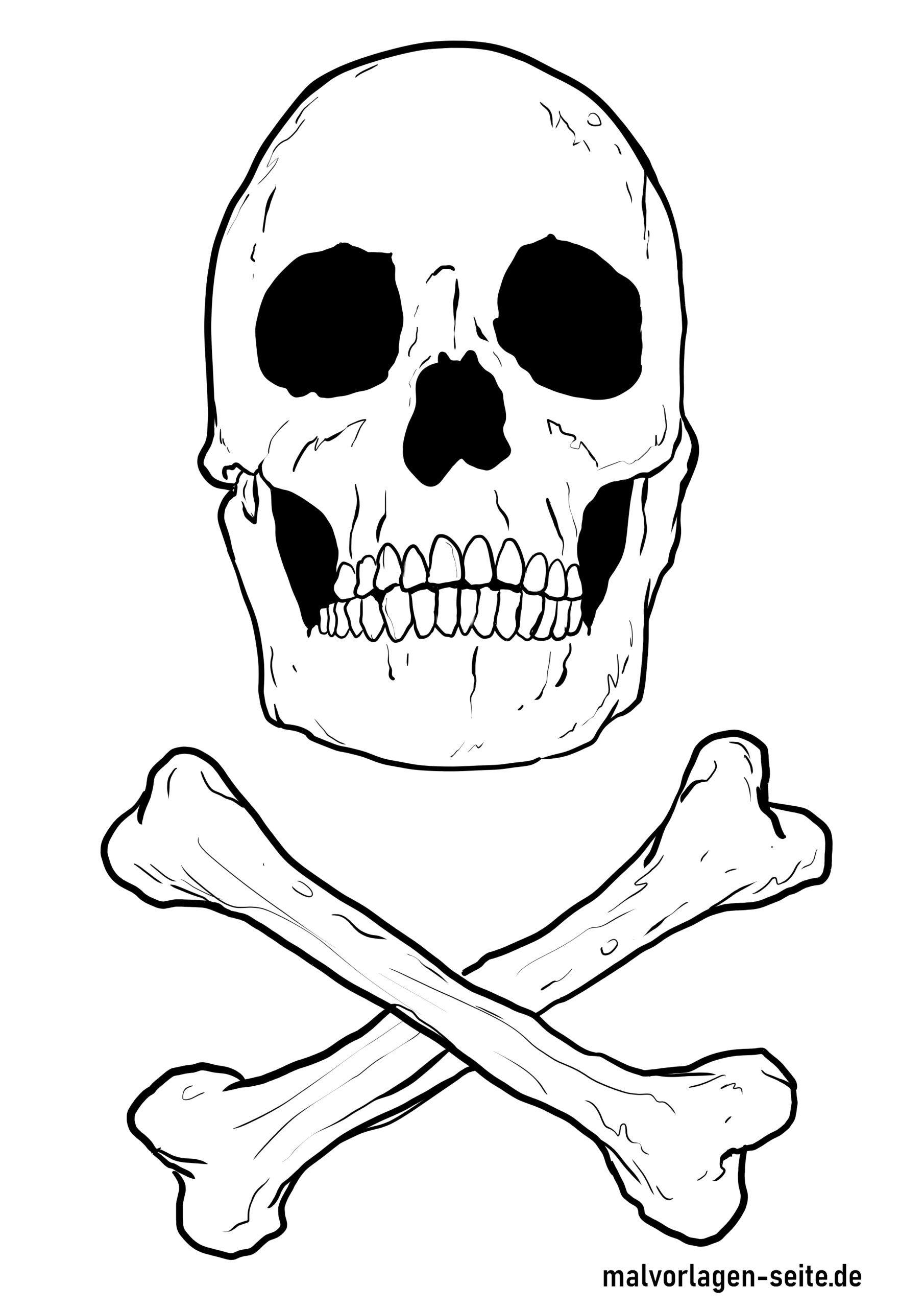 Malvorlage Totenkopf  Figuren - Kostenlose Ausmalbilder