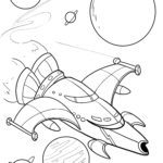 Spaceship and planet template for coloring