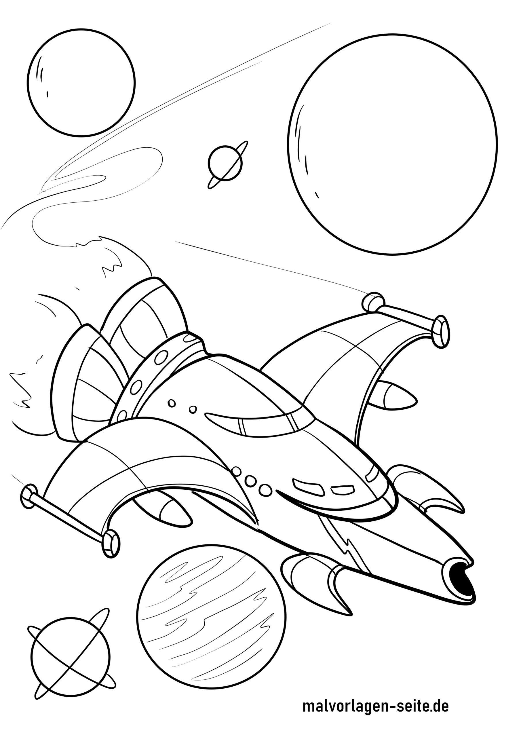 malvorlage planeten und raumschiff  kostenlose ausmalbilder