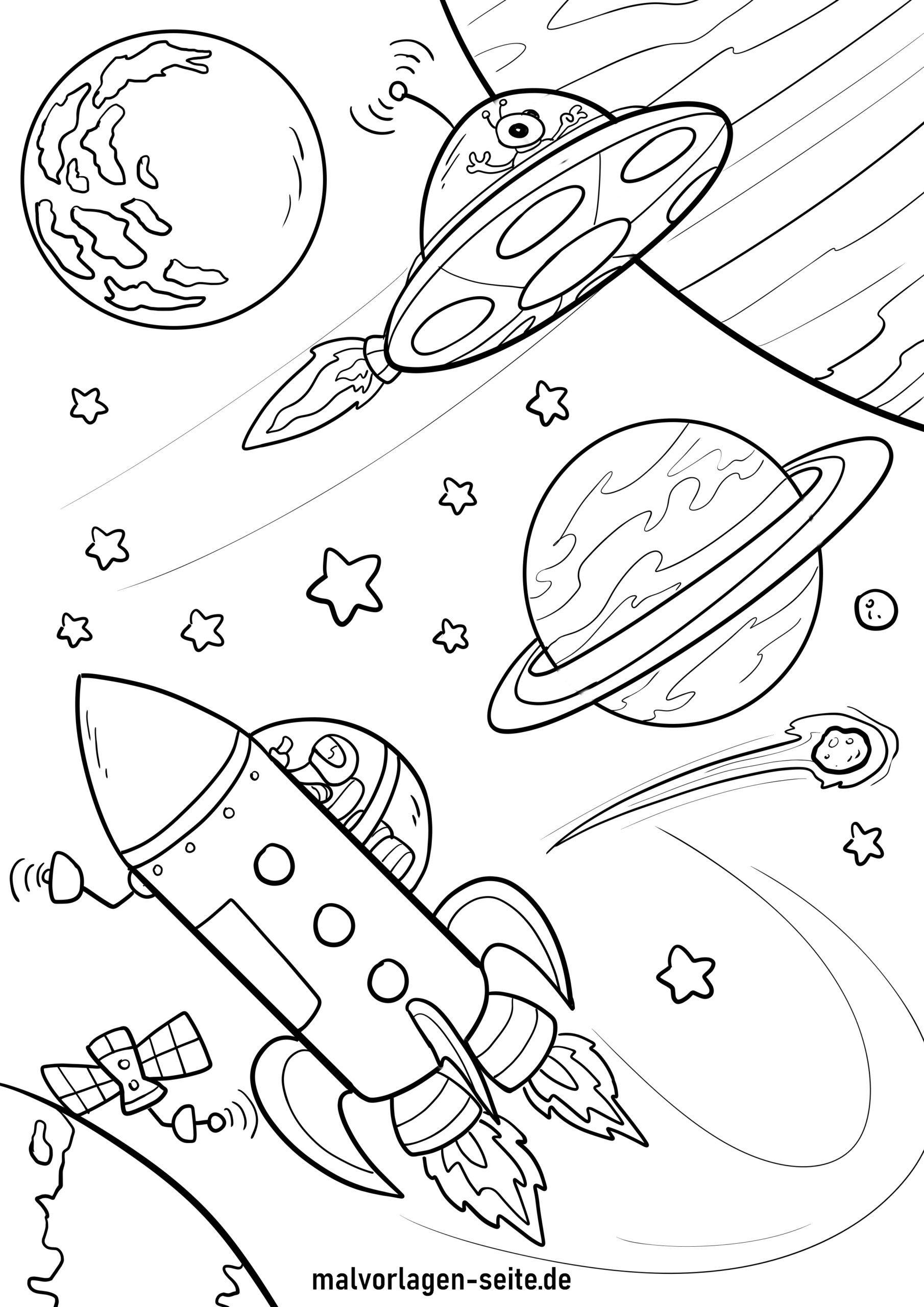 malvorlage raumschiff und planeten  kostenlose ausmalbilder