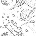 Coloring page spaceship and planets