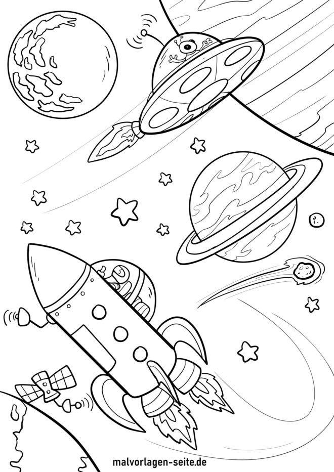 Malvorlage Planeten und Raumschiff