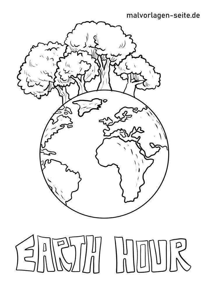 malvorlage earth hour  umweltschutz  kostenlose ausmalbilder