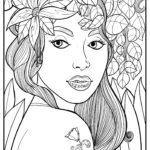 Coloring page for adults - woman