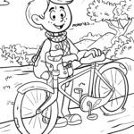 Coloring page ride a bike