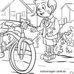 Coloring page riding a bicycle for children to color