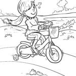 Coloring page riding a bike for children to color